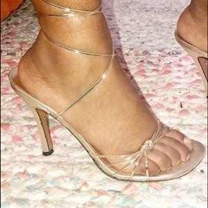 Stuart Weitzman clear iridescent strappy tie heels